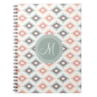 Aztec Tribal Pink Pink Monogram Pattern Notebook
