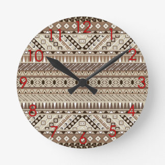 Aztec Tribal Print Neutral Browns Beige Taupe red Round Clock