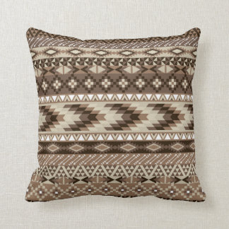 Aztec Tribal Print Neutral Browns Beige Taupe Throw Pillow