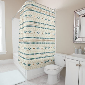 Aztec Tribal Print Neutral Browns Beige Teal Shower Curtain