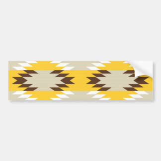 Aztec Tribal Yellow Brown Native American Designs Bumper Sticker