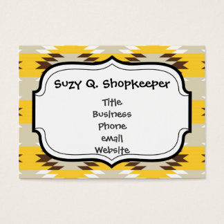 Aztec Tribal Yellow Brown Native American Designs Business Card