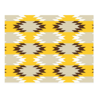Aztec Tribal Yellow Brown Native American Designs Postcard
