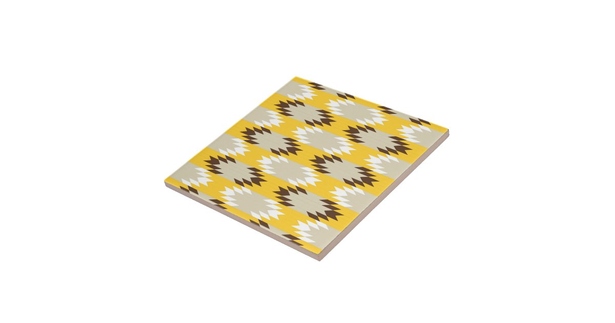 Aztec tribal yellow brown native american designs small for Native american tile designs