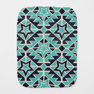 Aztec turquoise and navy baby burp cloths