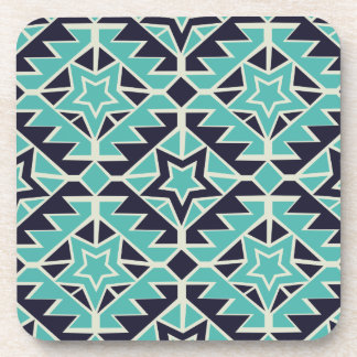Aztec turquoise and navy coaster