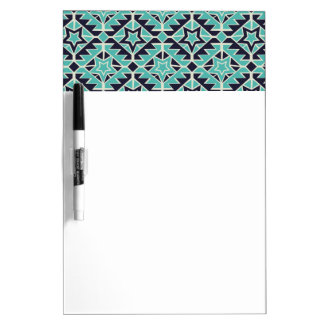 Aztec turquoise and navy dry erase board