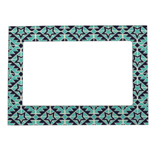 Aztec turquoise and navy frame magnets