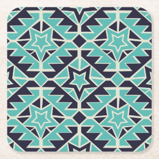 Aztec turquoise and navy square paper coaster