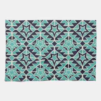 Aztec turquoise and navy towel