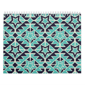 Aztec turquoise and navy wall calendar