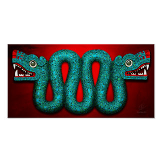 Aztec Turquoise Mosaic Serpent Poster