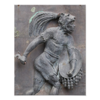 Aztec Warrior Stone carving Poster