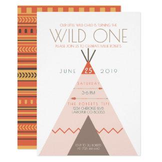 Aztec Wild One   First Birthday Invite