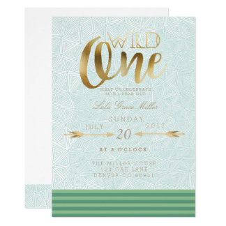 Aztec Wild One | First Birthday Party Card