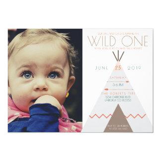 Aztec Wild One   First Birthday Photo Invite
