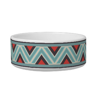 Aztec Zig Zag and Stripes Blue Red Pattern Pet Bowl