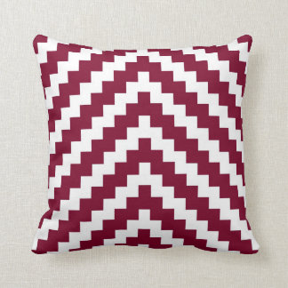 Aztec Zigzag in Cranberry Red and White Cushion