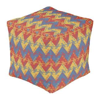 Aztec Zigzag  Polyester Cubed Pouf (Large)