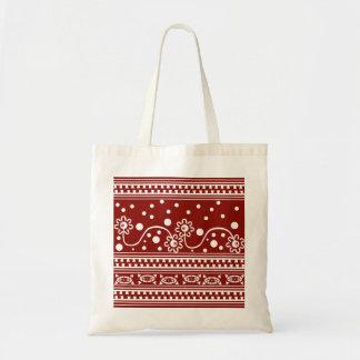 Aztec Zipper Tangle in Tomato Red Tote Bag