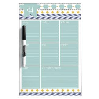 Aztek Monogram Weekly Calendar Dry Erase Board