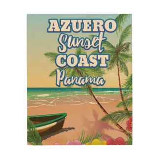 Azuero Sunset Coast Panama Beach travel poster
