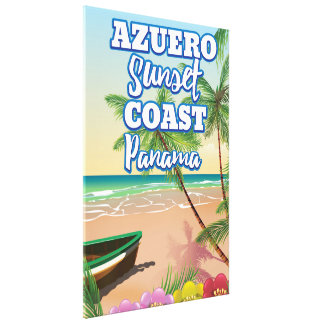 Azuero Sunset Coast Panama Beach travel poster Canvas Print