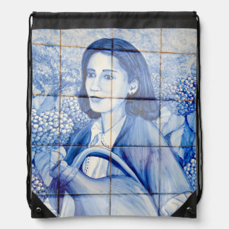 Azulejo mural drawstring bag
