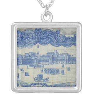 Azulejos tiles depicting the Praca do Comercio Square Pendant Necklace