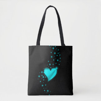 Azur Rainbow Heart with Stars on black Tote Bag