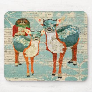 Azure & Amber Deer & Rose Owl Mousepad