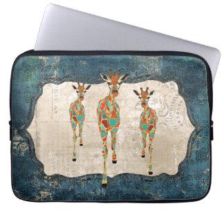 Azure & Amber Giraffes  Computer Sleeve