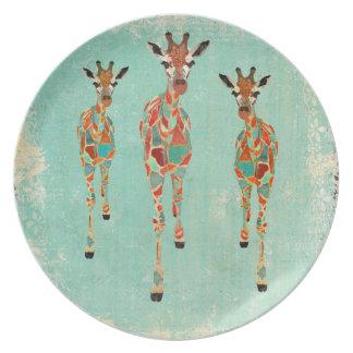 Azure & Amber Giraffes Plate