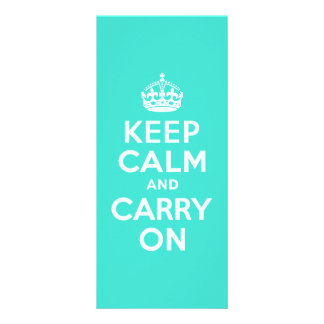 Azure and Turquoise Keep Calm and Carry On Full Color Rack Card