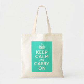 Azure and Turquoise Keep Calm and Carry On Bag