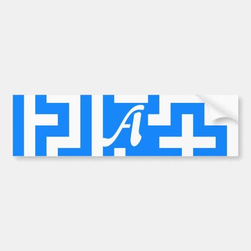 Azure Blue and White Maze Monogram Bumper Stickers
