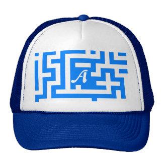 Azure Blue and White Maze Monogram Mesh Hat