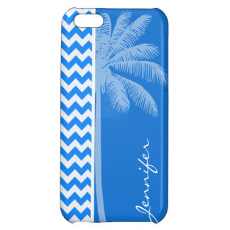 Azure Blue Chevron; Summer Palm Case For iPhone 5C