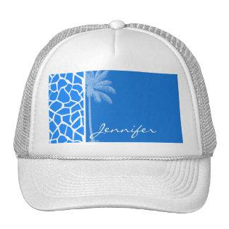 Azure Blue Giraffe Animal Print; Summer Palm Trucker Hat