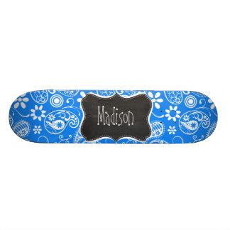Azure Blue Paisley; Floral; Chalkboard Skate Decks