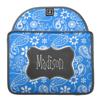 Azure Blue Paisley; Floral; Chalkboard Sleeve For MacBook Pro