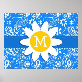 Azure Blue Paisley; Floral; Daisy Print