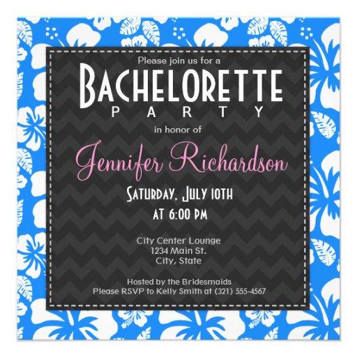 Azure Blue Tropical Hibiscus Bachelorette Party Announcements