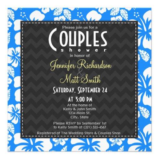 Azure Blue Tropical Hibiscus Couples Shower Invites