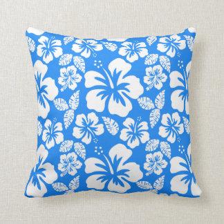 Azure Blue Tropical Hibiscus Cushion