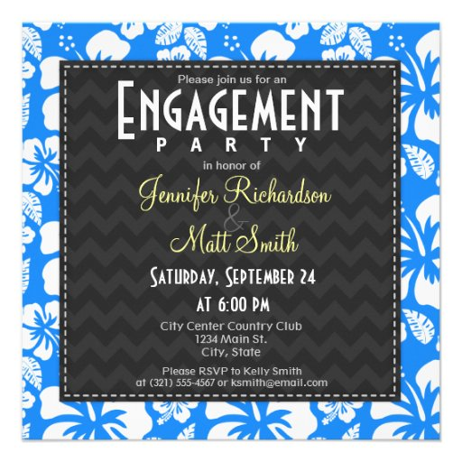 Azure Blue Tropical Hibiscus Engagement Party Personalized Invitation