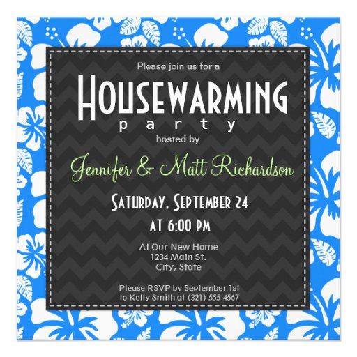 Azure Blue Tropical Hibiscus Housewarming Party Invitation