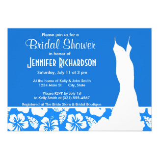 Azure Blue Tropical Hibiscus Personalized Invites