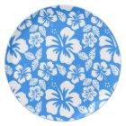 Azure Blue Tropical Hibiscus Plate