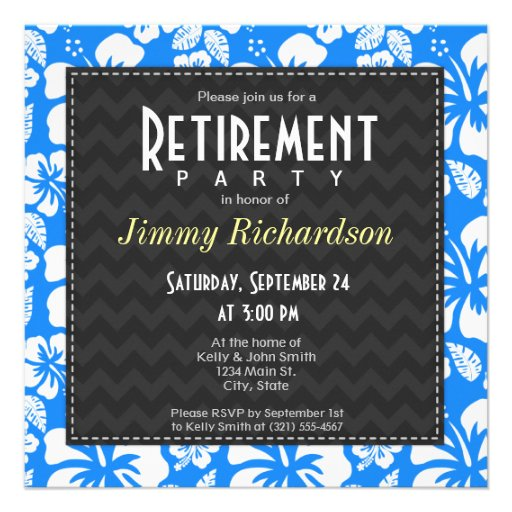 Azure Blue Tropical Hibiscus Retirement Party Custom Invites